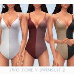 Купальник Two Tone V Swimsuit 2 Симс 4
