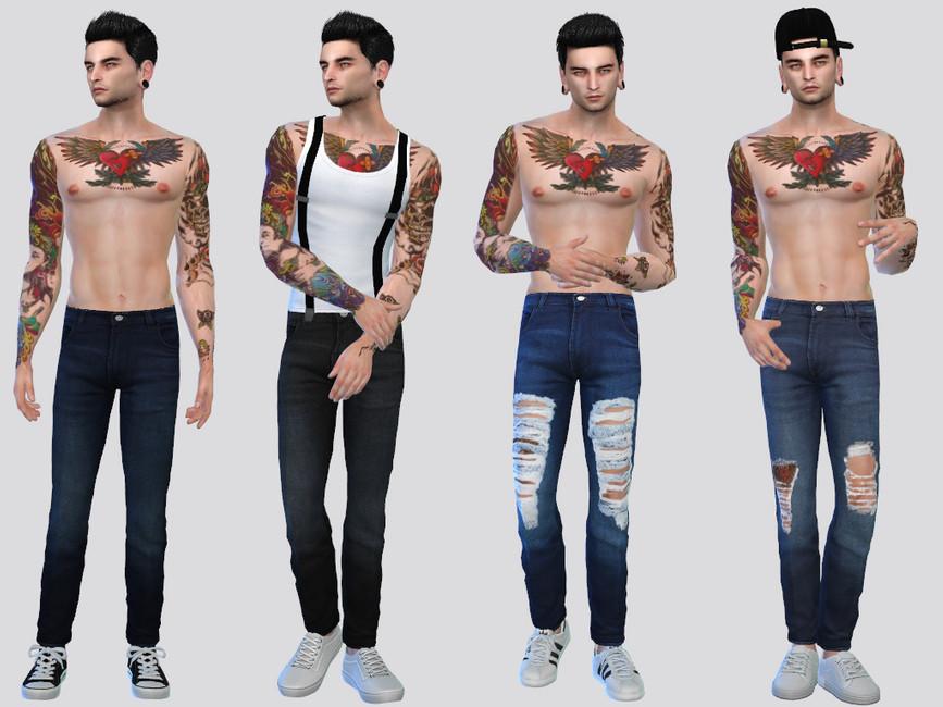 Мужские джинсы Solitude Denim Jeans Симс 4
