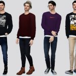 Мужские свитера Makino Sweater Top Симс 4