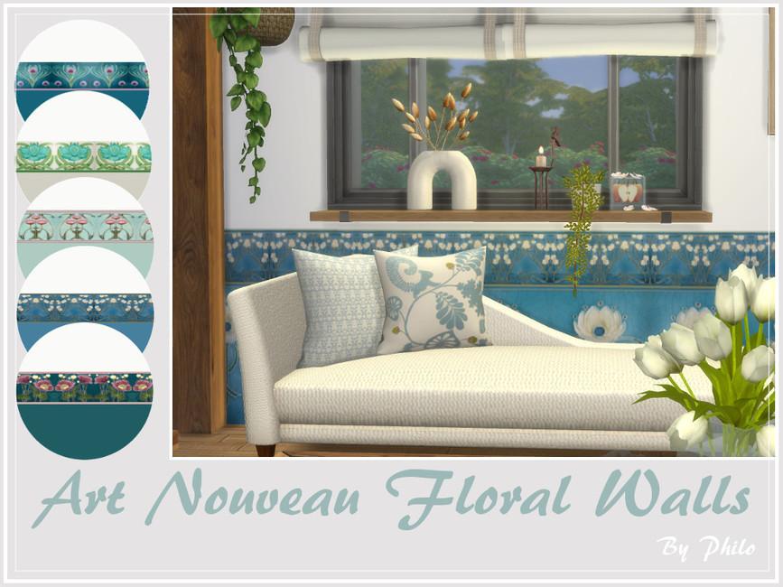 Обои Art Nouveau Floral Walls Симс 4