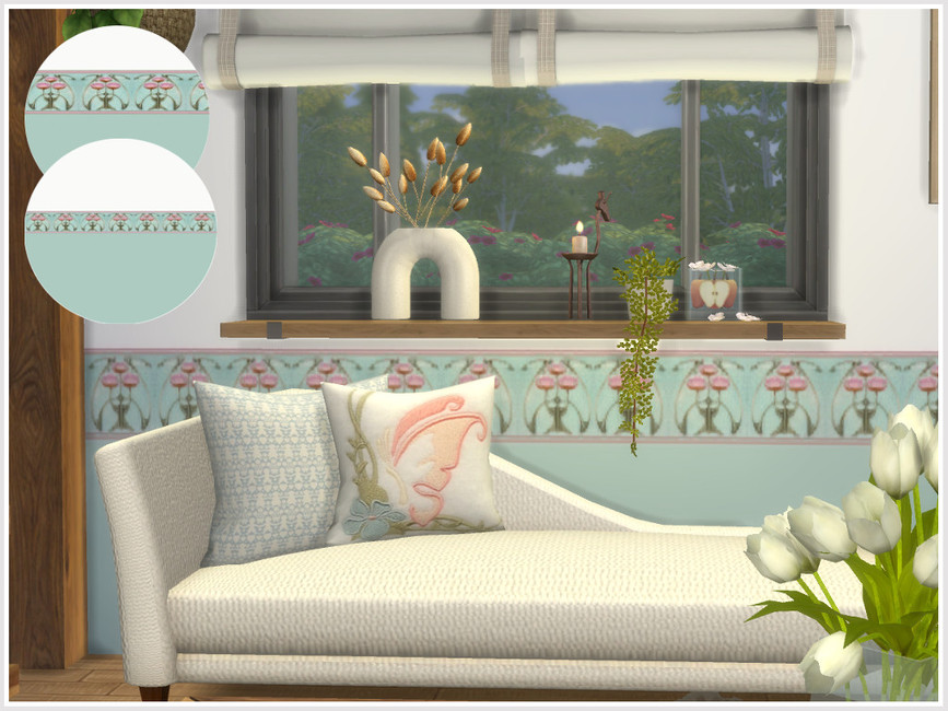 Обои Art Nouveau Floral Walls Симс 4 (картинка 4)