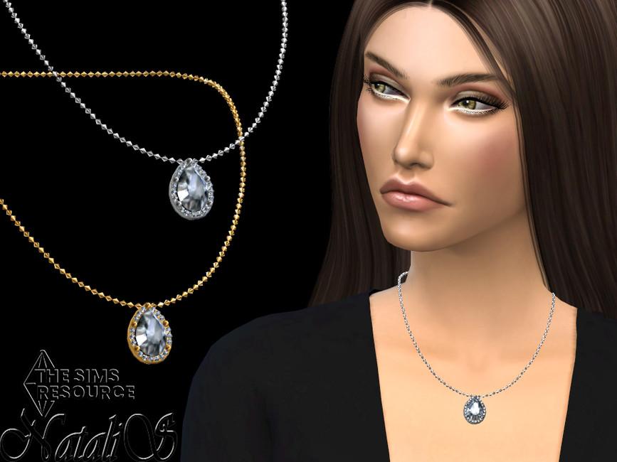 Ожерелье Pear Cut Halo Pendant Necklace Симс 4