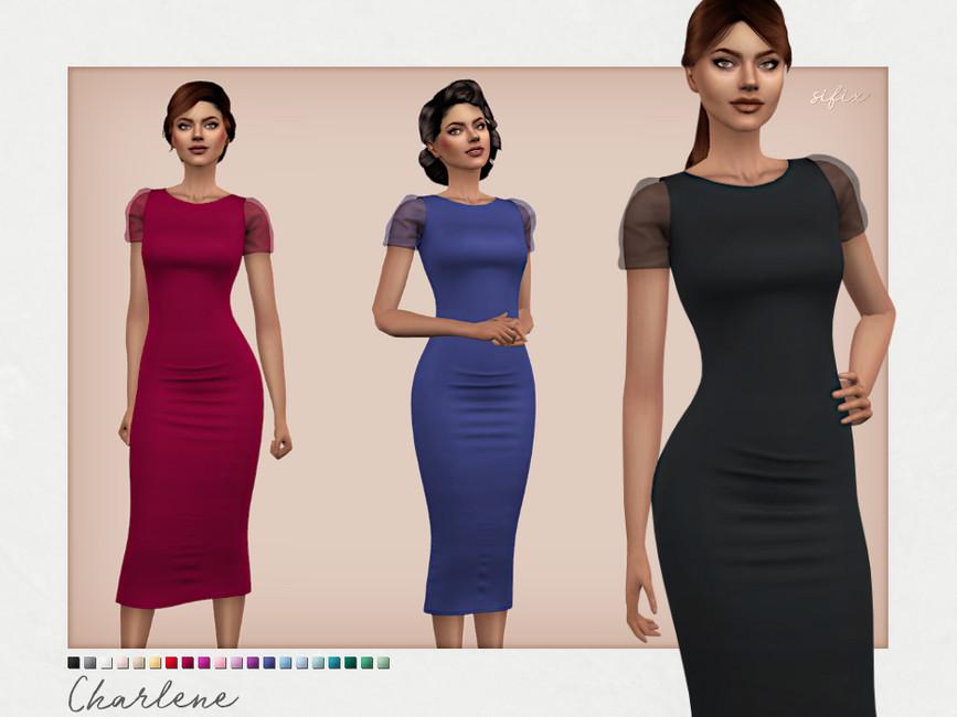 Платье Charlene Dress Симс 4