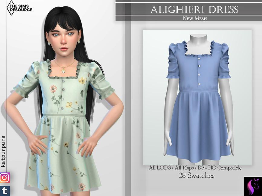 Платье для детей Alighieri Dress Симс 4