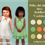 Платье для малышей Polka Dot Chiffon Dress Toddler Симс 4