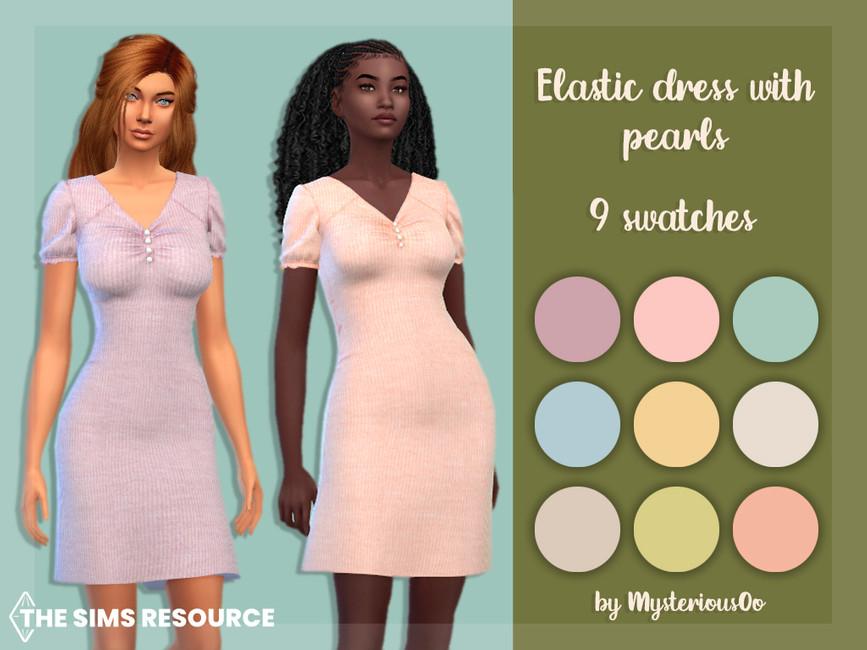 Платье Elastic Dress With Pearls Симс 4