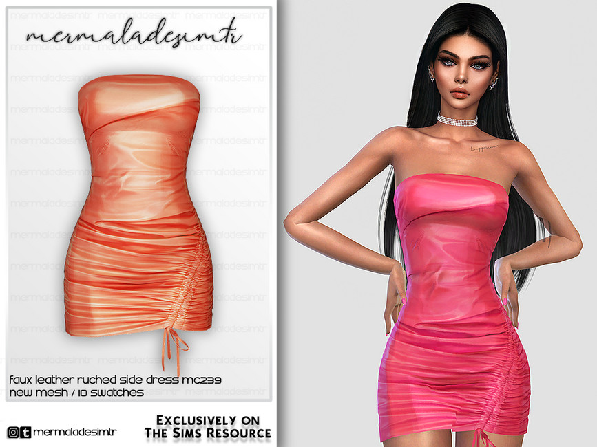 Платье Faux Leather Ruched Side Dress MC239 Симс 4