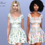 Платье Lace Floral Dress Симс 4