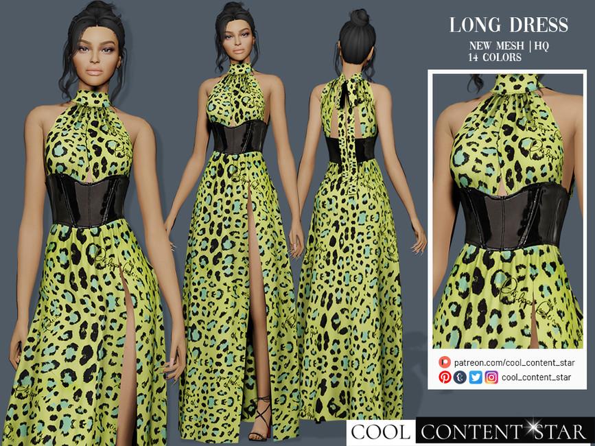 Платье Long Dress With Latex Waist Belt Симс 4