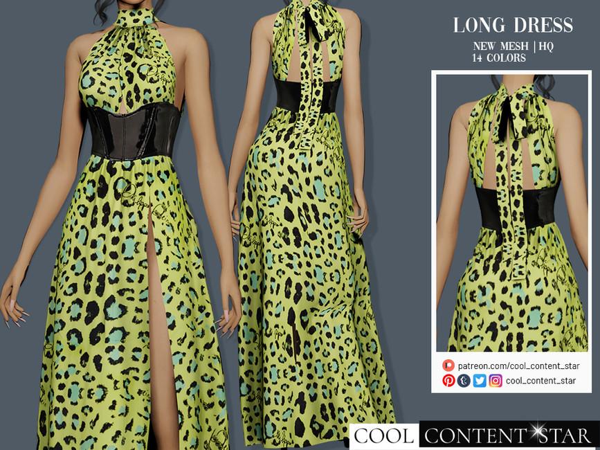 Платье Long Dress With Latex Waist Belt Симс 4 (картинка 2)