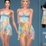 Платье Multicolor Leopard Print Dress Симс 4