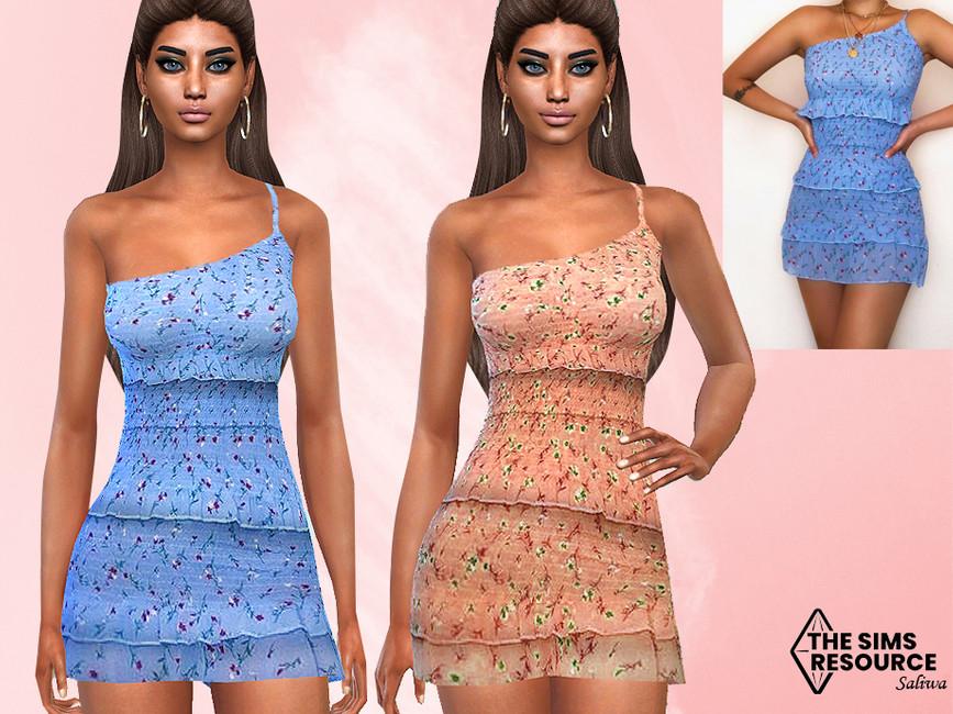 Платье Summer Floral Ruffle Dress Симс 4