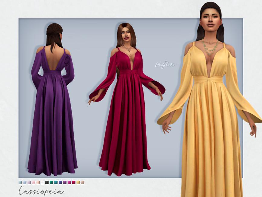Платье в пол Cassiopeia Dress Симс 4