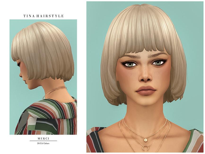 Прическа каре Tina Hairstyle Симс 4