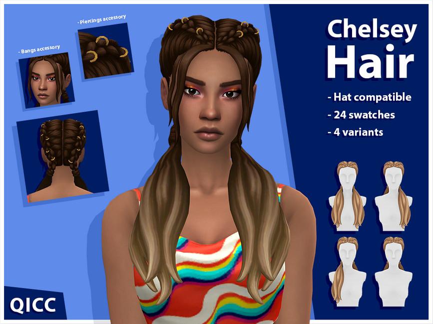 Прическа косички Chelsey Hair Set (Patreon) Симс 4