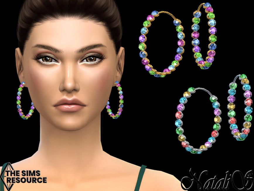 Сережки Multicolor Crystal Hoop Earrings Симс 4