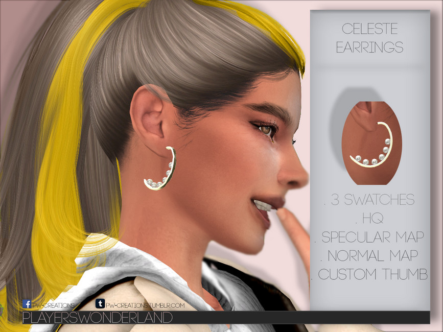 Серьги Celeste Earrings Симс 4 (картинка 2)