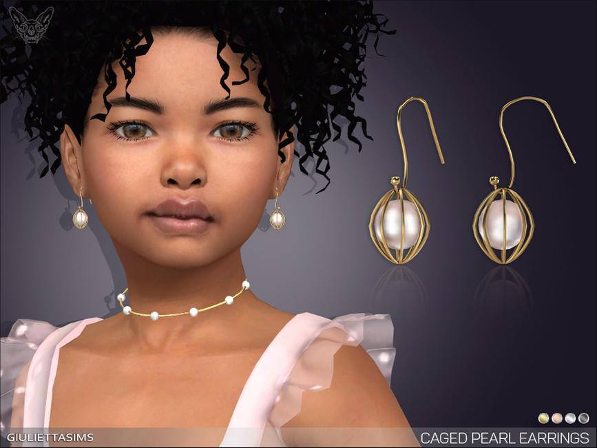 Серьги для детей Caged Pearl Earrings For Kids Симс 4