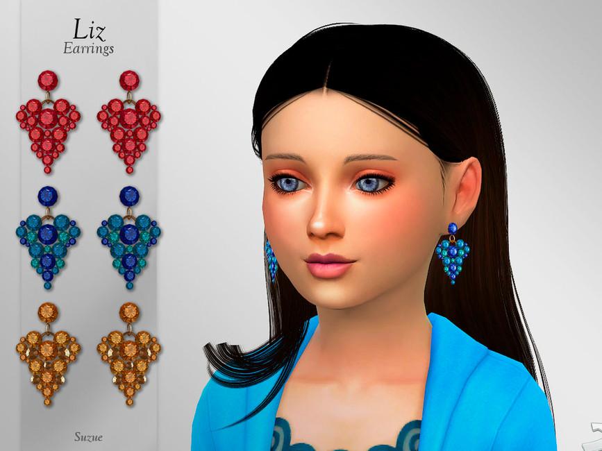 Серьги для девочек Liz Earrings Child Симс 4