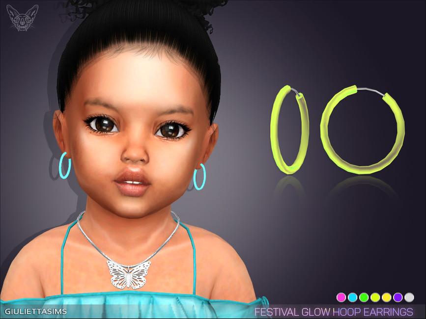 Серьги для малышей Glow Festival Hoop Earrings For Toddlers Симс 4
