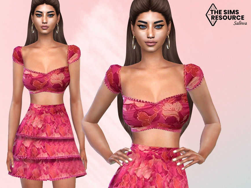 Топ Floral Two Piece Outfit Top Симс 4