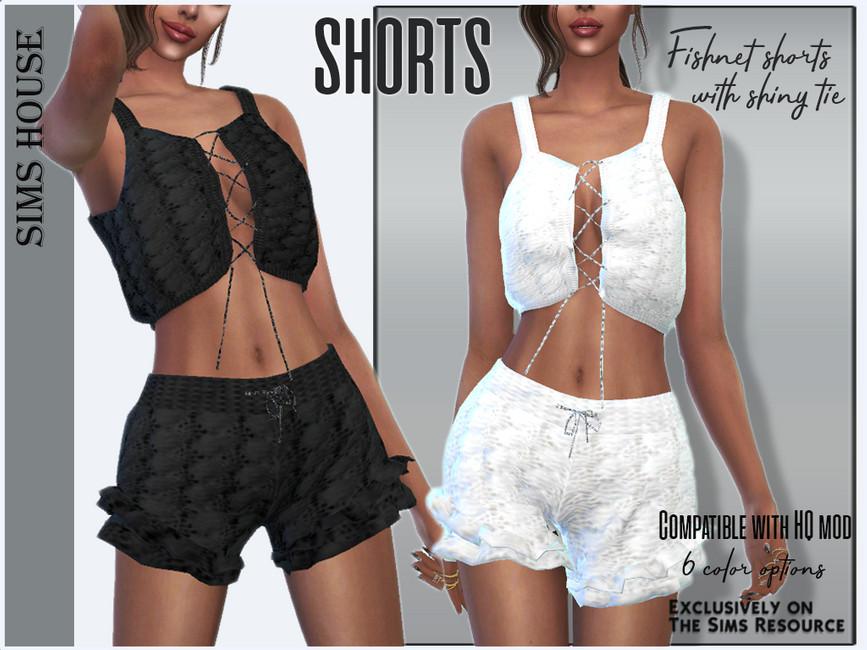 Женские шорты Fishnet Shorts With Shiny Tie Симс 4