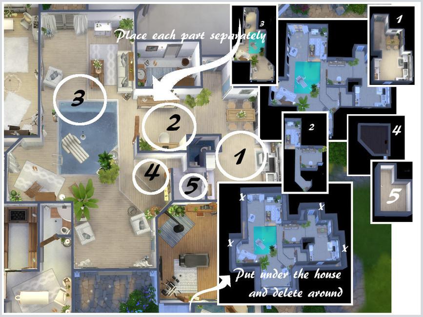 Дом с бассейном Симс 4 (картинка 8)