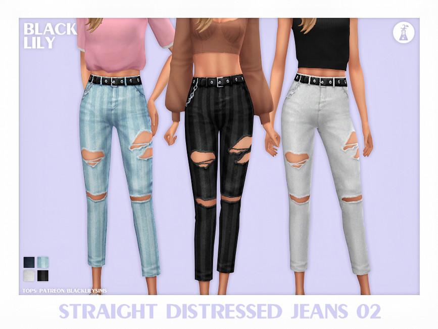 Джинсы Straight Distressed Jeans 02 Симс 4
