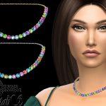 Колье Multicolor Crystals Short Necklace Симс 4