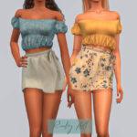 Короткая юбка Pareo Skirt - BT428 Симс 4