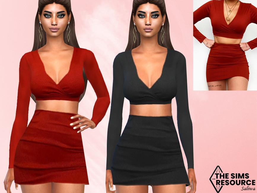Костюм Two Piece Skirt Outfit Симс 4
