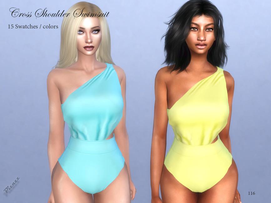 Купальники Cross Shoulder Swimsuit Симс 4