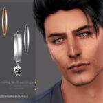 Мужские серьги Smiling Skull Earrings Симс 4