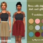 Платье Dress With Chiffon Skirt And Glitter Симс 4