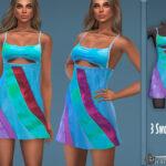 Платье Color-Block U-Neck Dress Симс 4