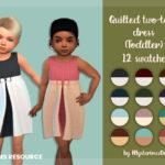 Платье для малышей Quilted Two-Tone Dress Toddler Симс 4