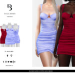 Платье Ruched Satin Cupped Mini Dress Симс 4