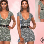 Платье V Neck Summer Dress With Belt Симс 4
