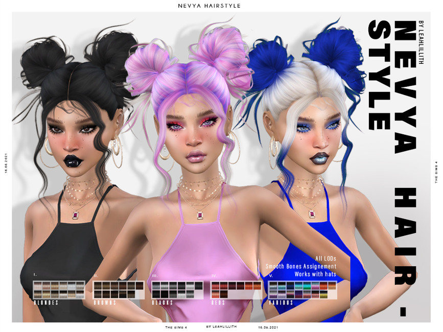 Прическа Nevya Hairstyle Симс 4