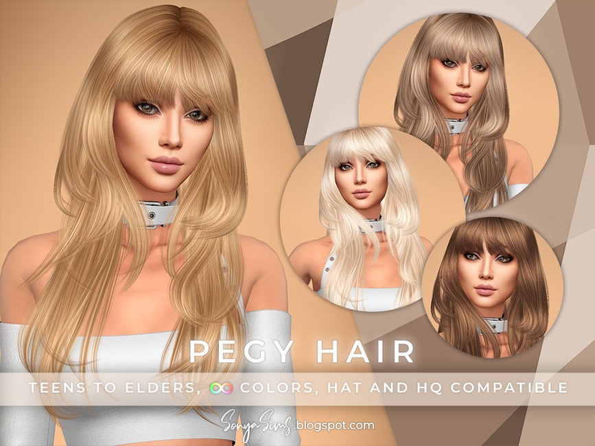 Прическа Pegy Hair Симс 4