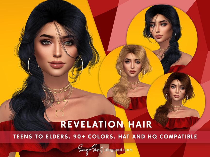 Прическа Revelation Hair Симс 4