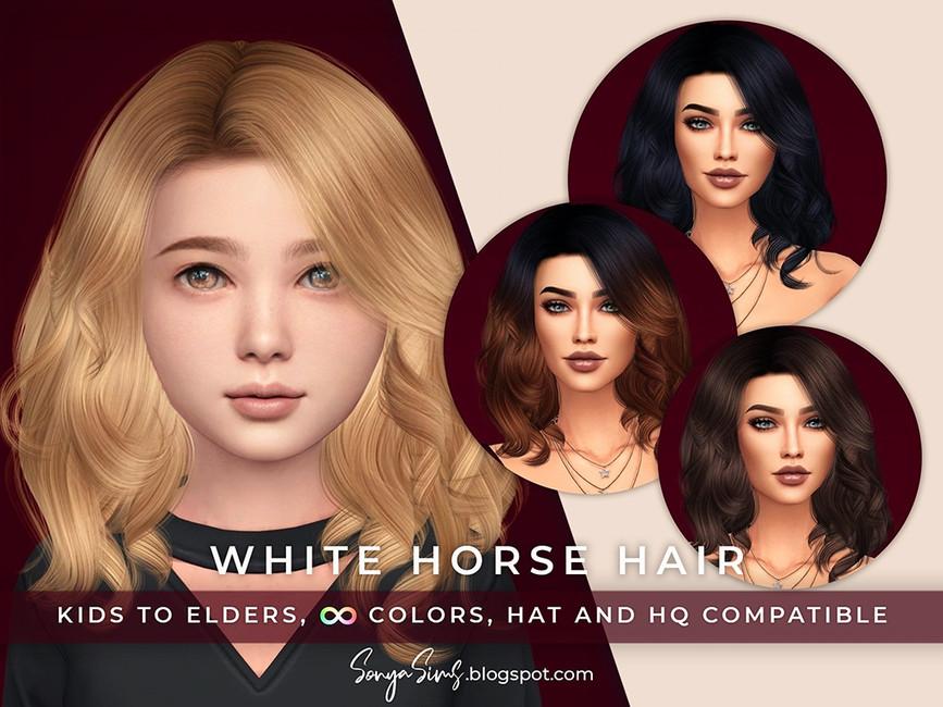 Прическа White Horse Hair KIDS Симс 4