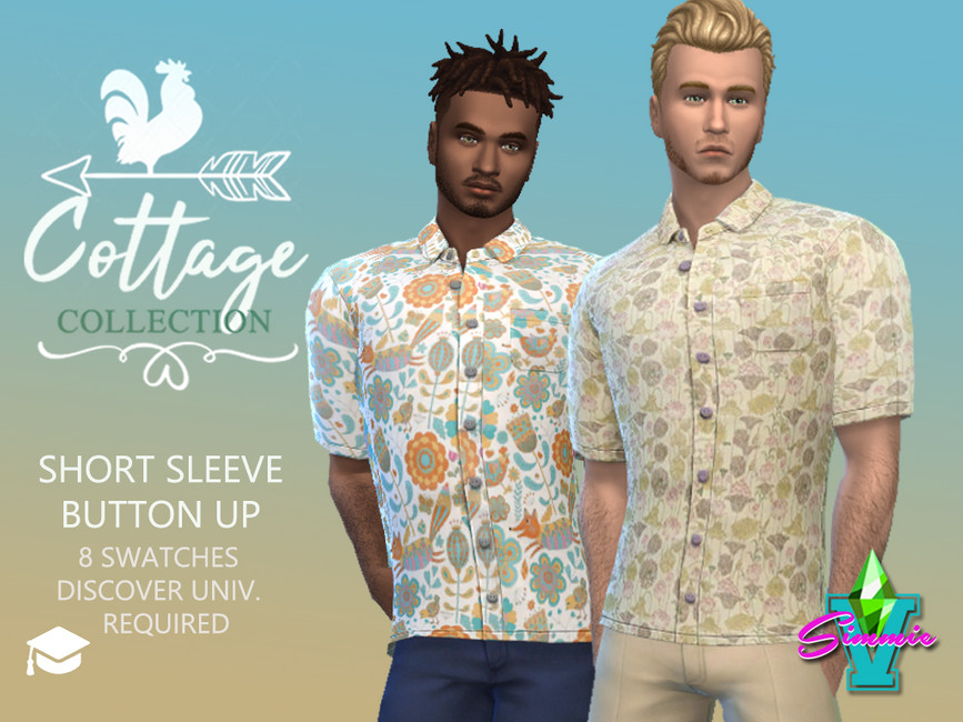 Рубашки Cottage Short Sleeve Button Up Симс 4