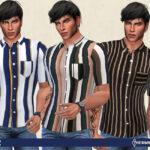 Рубашки Stripes Shirt For Man Симс 4