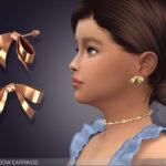 Серьги для детей Golden Bow Earrings For Kids Симс 4
