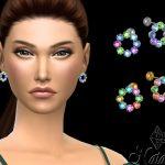 Серьги Multicolor Crystal Circle Stud Earrings Симс 4