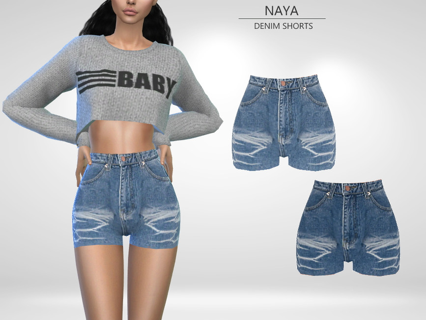 Шорты Naya - Denim Shorts Симс 4