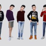Свитер Makino Sweater Top Boys Симс 4