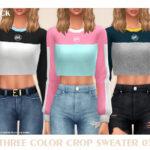 Свитер Three Color Crop Sweater 03 Симс 4