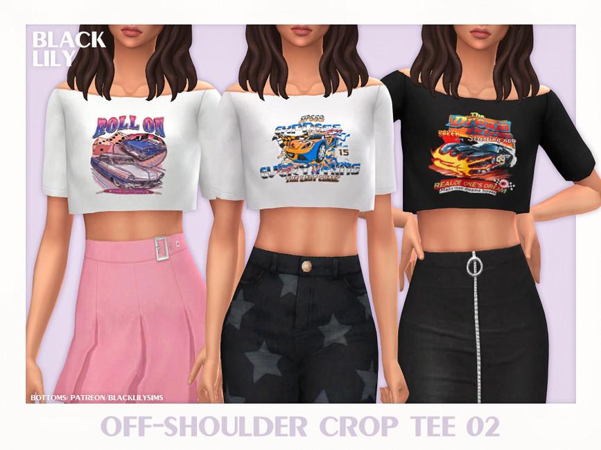 Укороченная футболка Off-Shoulder Crop Tee 02 Симс 4